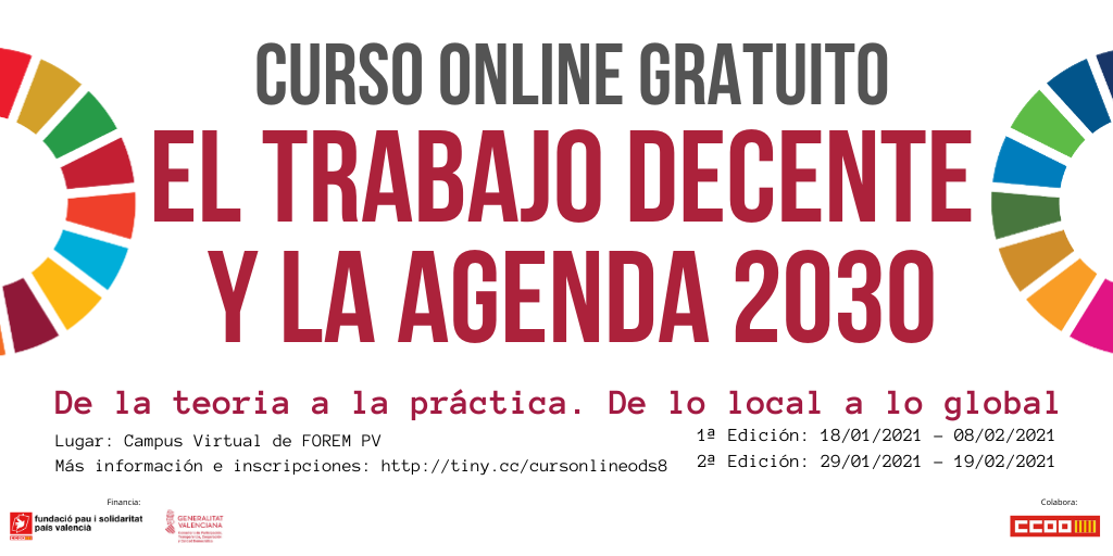 """""""Agenda 2030 y Trabajo Decente"""", un curso online gratuito para acercarnos al ODS 8"""