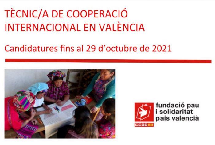 OFERTA DE TREBALL: Tècnic/a de Cooperació Internacional